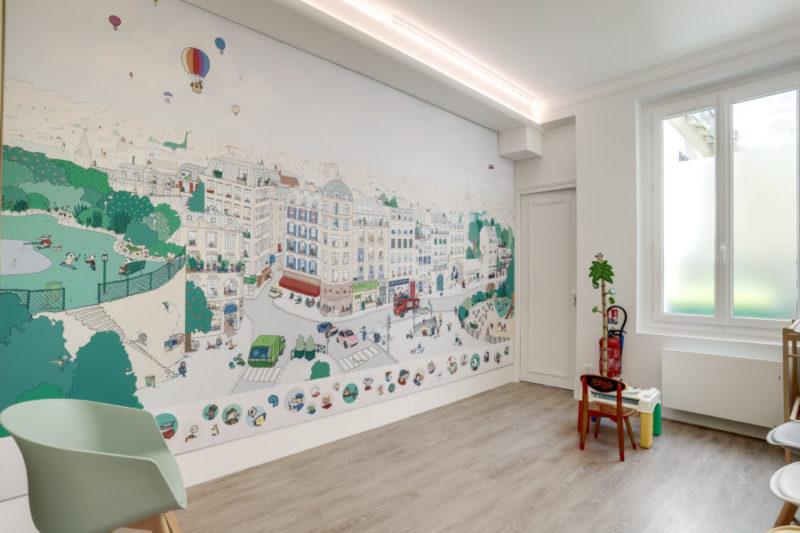 Rénovation d'un cabinet de pédiatrie à Paris 15 - salle d'attente
